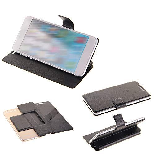 K-S-Trade Handy Schutz Hülle Kompatibel Mit Alcatel 1C Single SIM Flip Cover Handy Wallet Hülle Slim Bookstyle Schwarz