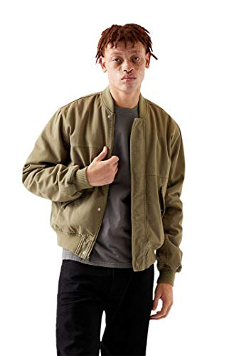 PacSun Men's Patched Bomber Jacket - Green Size Medium