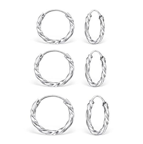 DTP Silver - Conjunto de 3 Pendientes de Aro de Mujer - Espesor 1.8 mm - Diámetro 10, 12, 14 mm - Plata de Ley 925