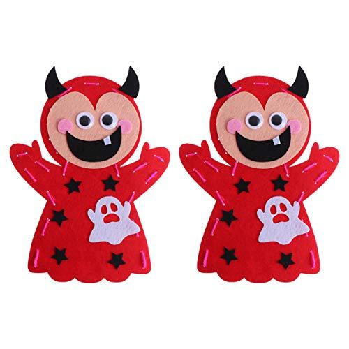 NUOBESTY 2 Stück Kinder Nähset und Handwerk Pirat, Halloween, Herstellung von Bastelmaterialien Lernspielzeug für die frühzeitige Entwicklung von Kindern, rot, M