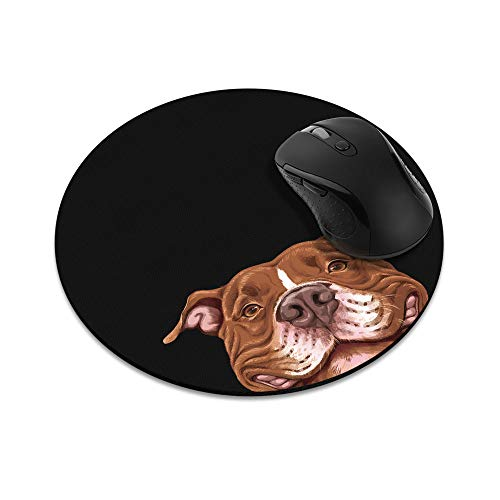 Non-Slip Round Mousepad, WIRESTER Smiling Red Pit Bull Dog Mouse Pad for Home, Office and Gaming Desk