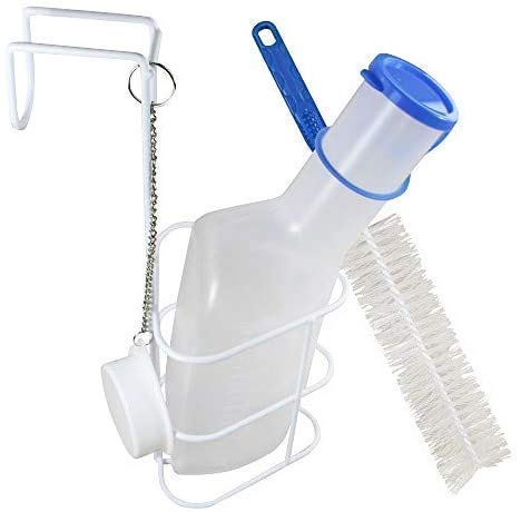 Medi-Inn Urinflasche PP milchig | 1 Liter Fassungsvermögen | autoklavierbar | mit Betthalter und Reinigungsbürste