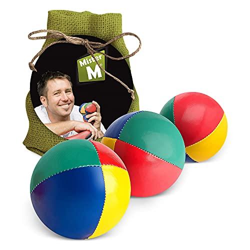 Mister M Jonglierbälle Anfänger 3er Set + Gratis Online Lehrvideo - 100g pro Jonglage Ball - Jonglierbälle Kinder Set im praktischen grünen Jutebeutel - Jonglieren Set auch geeignet für Erwachsene, Anfänger und Profis - Stressball