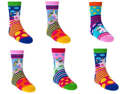C&C KIDS Kinder Socken,6 Paar,35-38,Lustige Tiere/Mädchen Motiv