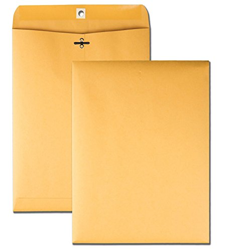Quality Park 9 x 12 Clasp Envelopes with Deeply Gummed Flaps, Great for Filing, Storing or Mailing Documents, 28 lb Brown Kraft, 100 per Box (37890)