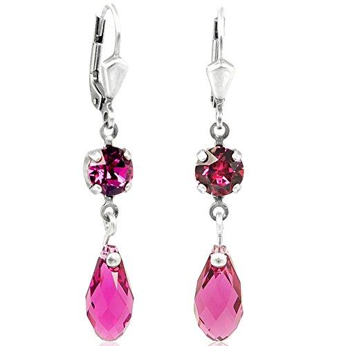 Ohrringe mit Kristallen von Swarovski Silber Pink NOBEL SCHMUCK