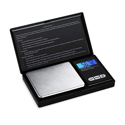 Ballylelly Báscula Digital de joyería de Bolsillo 0.01 Mini balanza electrónica de precisión Peso Gramo de Oro Moneda Básculas LCD 5 Unidades