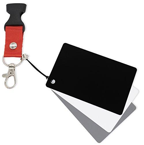 MyGadget Weißabgleich Fotozubehör - 3X Graukarte (weiß grau schwarz) Balance Karten für Digitale Kamera Fotografie & Video z.B. mit Canon, Sony, Nikon
