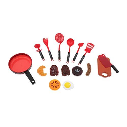 SM SunniMix Kinder Küchenspielzeug aus Kunststoff, Spielküche Kochen Rollenspiele Spielzeug - Rot, 16pcs