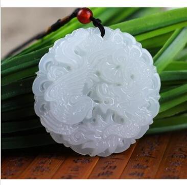GOZAR Weißer Jade Drache Phoenix Tibet Buddhist Lucky Anhänger Charm