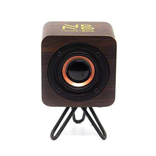 NB NOIZZYBOX Cube XS Stand Premium Wood Finish Portable Wireless Bluetooth Speaker with 5W Output, HD Sound Portable Speaker 14+ Hrs Playtime Bluetooth 5.0, Aux-in/TWS (Oakwood Brown with Stand)