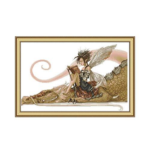 Lorenory kruis steek het meisje zitten op de draak lezen een boek kruis steek kit 14 ct 11 Count afdrukken Canvas steken borduurwerk DIY handgemaakte