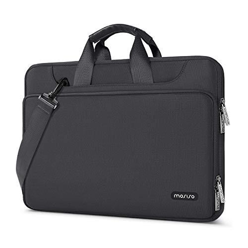 MOSISO 360 Protettivo Laptop Shoulder Bag Compatibile con 13-13,3 Pollici MacBook Air/PRO, 13,5 Laptop Surface, Surface Book, Idrorepellente Manica Case con Carrello Belt, Spazio Grigio