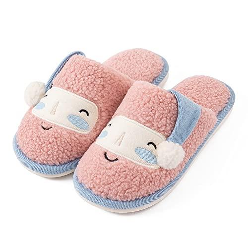 QAZW Zapatillas para Hombre, Zapatillas Navideñas con Cara Sonriente para Mujer, Zapatos Cálidos De Invierno para Interiores, Zapatos Cálidos, Zapatillas De Felpa Suave para Casa,Pink-7-8