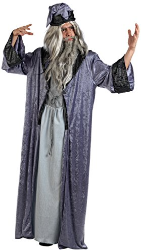 Mascarada MA618 - Zauberer Merlin Kostüm Herren 2-Teilig, Gewand und Zaubererhut - XL