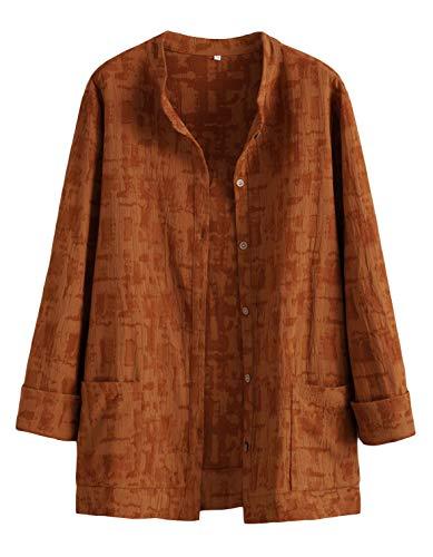 Mallimoda Donna Cardigan Elegante Cotone Camicie Giacca Manica Lunga Vintage Camicetta con Bottoni Giallo L