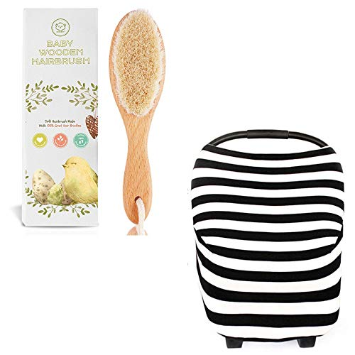 Baby Hairbrush and Baby Carseat Canopy Bundle - Versatile Nursing Cover for Breastfeeding and Car Seat Cover - Natural Goat Hair Brush for Cradle Cap - Best Newborn Baby Shower Gift Bundle