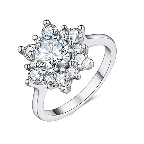 MadeOne 18K white gold plating excellent cut Cubic Zirconia CZ stone Snowflake Flower simulation diamond ring for women with box packing size 6-10 (White gold, 10)