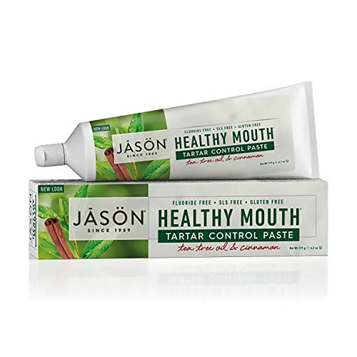 JASON Healthy Mouth Tartar Control Flouride-Free Toothpaste, Tee Tree Oil & Cinnamon, 4.2 oz. (Packaging May Vary)