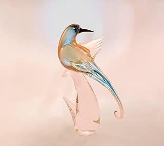 Made in Italy Genuine Murano Glass Bird Golden Light Blue Head Back -15