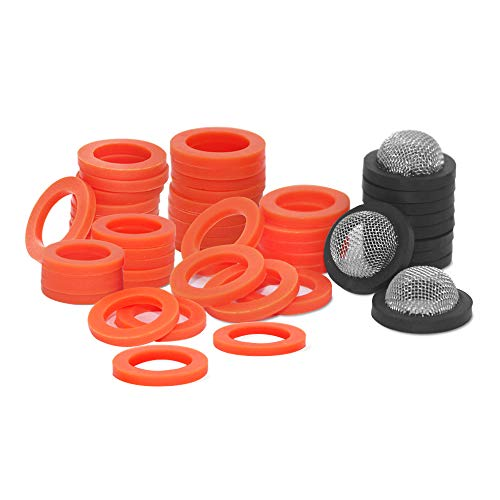YuCool 50 pieces, silicone garden hose washers rubber washers seals and stainless steel garden hose coupling filter washers, fit all standard 3/4 inch garden hose accessories