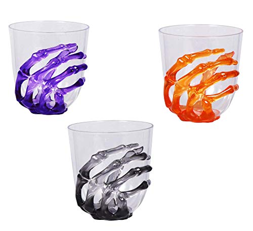 Halloween Skeleton Hand Plastic Goblets Champagne Flutes Stemless Cups Perfect For Creepy Spooky Halloween Decorations And Haunted House Choose Set Of 3 Each Stemless Cup Set Of 3