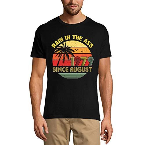 Ultrabasic Camiseta para hombre, diseño de lluvia en el culo desde agosto de 1979 – Retro Sunset 44 cumpleaños - negro - Large