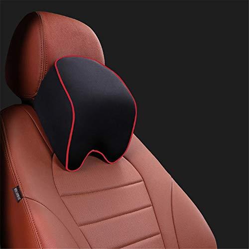 HUDEMR Almohada para el cuello del coche con correa ajustable para apoyo terapéutico, accesorio de asiento de coche, espuma de memoria, cojín de viaje (color: negro1)