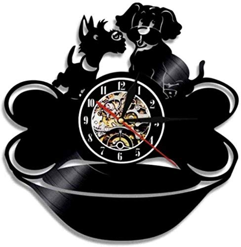 ZYBBYW Vinyl Wanduhr Vinyl Schallplatte Wanduhr Mops und Knochen Welpe Schallplatte Dog Style dekorative Uhr