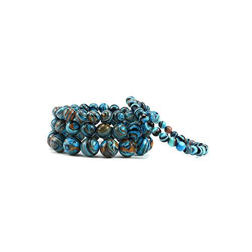 Awertaweyt Pulsera de Cuentas, Blue Malachite Stone Bead Bracelet Women Men 6Mm/8Mm/10Mm/12Mm Chakra Yoga Strand Charm Bracelets Jewelry Bangles Gifts 10mm