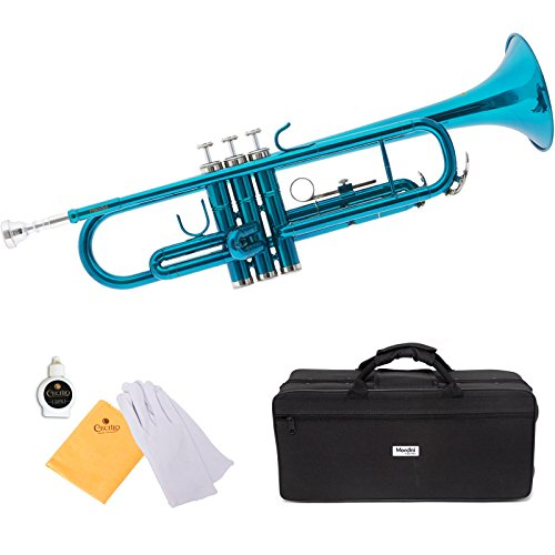 commercial Mendini by Cecilio Sky Blue Trumpet Brass Bb Standard Trumpet Beginner Student With Hard Case… jean paul usa tr 860 trumpet