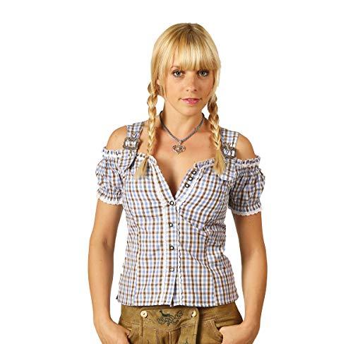 Fuchs - Blusa para traje regional con brazo de carmen y cierre de metal, talla 44 (talla del fabricante: XL), color azul y marrón