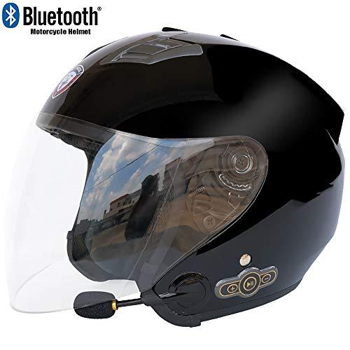 MTTKTTBD Bluetooth Motorradhelm Jethelme,3/4 Motorrad Helme mit Visier Brain-Cap Jet-Helm Roller-Helm Mofa-Helm Scooter-Helm Bobber Crash Cruiser Biker Racing Helm ECE Zertifiziert