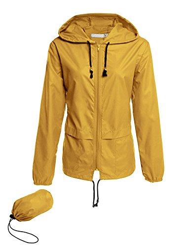 Romanstii Übergangjacke Damen Leichte Regenjacke Wasserdicht Gelb Lauf Windjacke Stretch Superleichte Sportiva Packbar Ungefüttert Funktions XXL