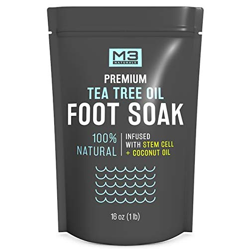 M3 Naturals Tea Tree Oil Foot Soak Infused with Stem Cell and Coconut Oil Epsom Salt for Athletes Foot Stubborn Odor Calluses Sore Feet Toenail Fungus Cracked Heel Bath Spa 16 oz