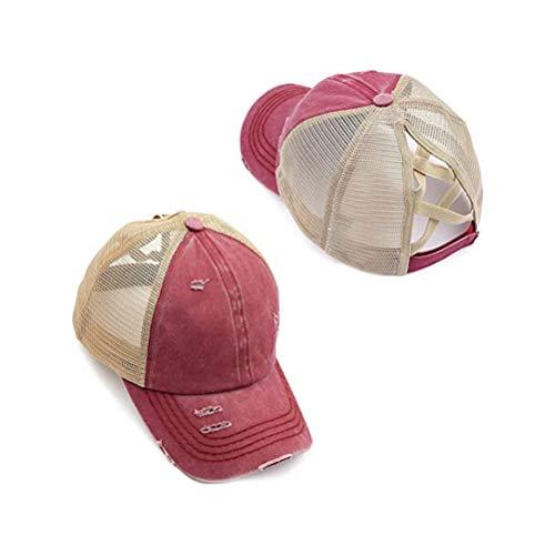 Rsoamy Baseballmütze, Cappy Frauen Cap Damen Sommer, Modische Retro Baseball Cap Damen Pferdeschwanz Messy Baseball Cap Cross Hat