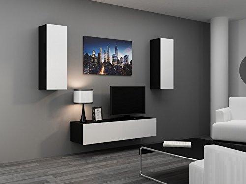 Wohnwand ' Vigo Full I ' Hochglanz Hängeschrank Lowboard, Farbe:schwarz matt / weiß Hochglanz