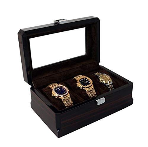 ZhenHe Staubdichte Uhrenbox Vitrine Container Schwarz Wildleder Innen Farbe Außen mit Aufbewahrung Organizer Herren...