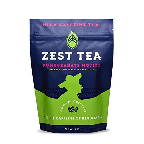 Zest Tea Premium Energy Tee mit viel Koffein - natürlicher, gesunder und koffeinhaltiger Energie Tee als idealer Kaffeeersatz - 140mg Koffein pro Portion - loser Granatapfel-Mojito Grüner Tee – 113 g