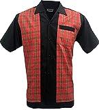 Rockabilly Fashions - Camisa casual para hombre, diseño retro de los años 50, color negro y rojo S