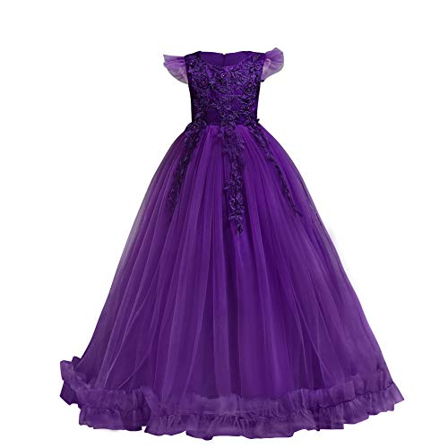 Big Little Girl Princess Embroidery Flower Lace Long A Line Pageant Dress Kids Floor Length Prom First Holy Communion Bowknot Dress Puffy Tulle Maxi Ball Gown for Wedding Party Birthday Purple 7-8