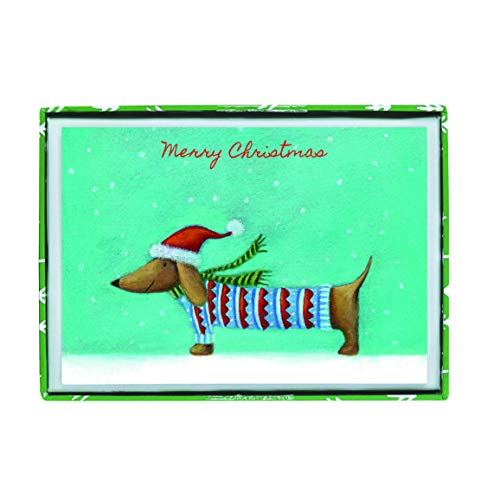 Graphique Christmas Dog Boxed Cards — 15 Embellished Gold Foil and Glitter Wiener Dog'Merry Christmas' Cards, Holiday Cards Includes Matching Envelopes and Storage Box, 3.25' x 4.75'