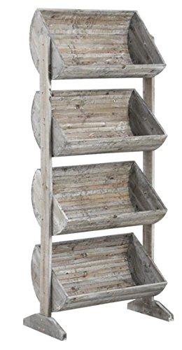 PEGANE Présentoir avec 4 caisses en Bois Vieilli, 68,5 x 40,5 x 170 cm