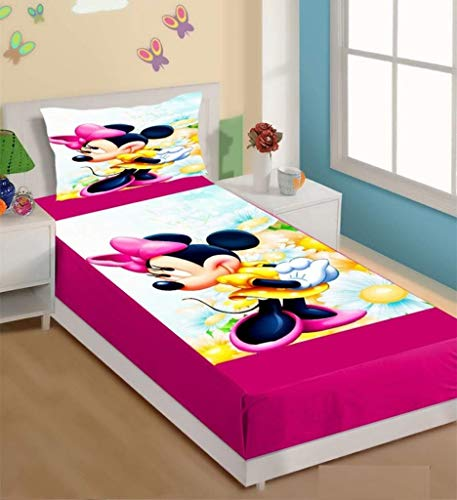 THE HOME STYLE 3D Digital Print Velvet bedsheet Single Bed with 1 Pillow Cover- Minnie