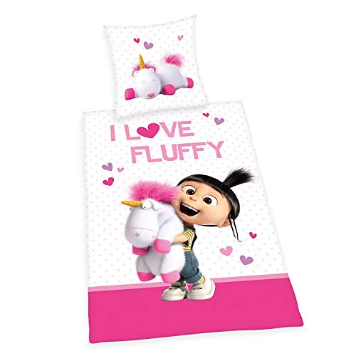 Agnes Ropa de Cama Liso Minions i Love Fluffy Unicornio 135 x 200 Regalo Wow - All-In-One-Outlet-24