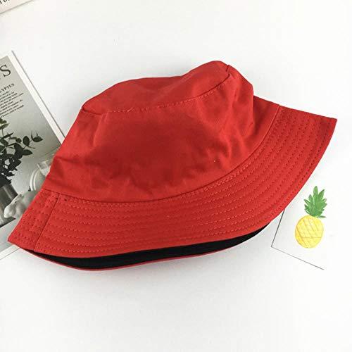 TYJ Damen Angelhut, Baumwolle, Sonnenschutz, einfarbig, doppelseitig, rot / schwarz, 56-58 cm