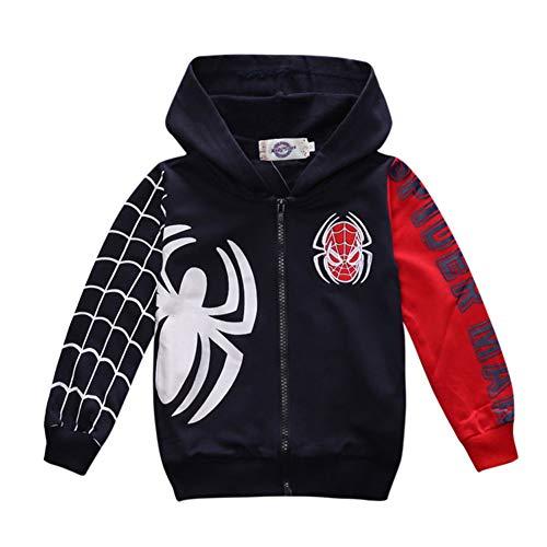 Ragazzi Felpa con Cappuccio Spiderman T-Shirt Unisex Camicie Bambino Hoodie Pullover Autunno T-Shirt Inverno Maniche Lunghe Maglietta Giacchino (D Blue,140cm)