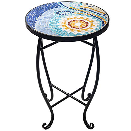 D4P Display4top Mosaic Round Outdoor Accent Table,Plant Flower Stand,Round Side Table,52 x 34.8cm(Sun)