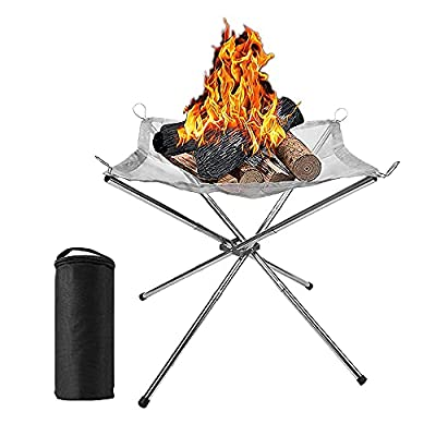 MOPOIN Camping Fireplace, Portable Fire Bowls, Foldable Fire Baskets with Storage Bag, Stainless Steel Mesh Fireplace for Camping, Outdoor, Patio, Garden and BBQ, 41 x 41 x 34 cm by MOPOIN
