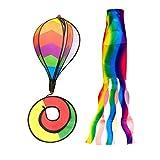 Amuzocity 2 X 55 Heißluftballon Windsack Windmühle + 70cm Regenbogen Windsack Garten ACCS